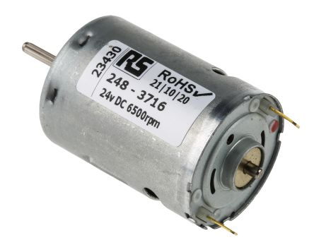 Mellor Electric Brushed DC Motor, 24 V dc, 3.5 Ncm, 6500 rpm, 2.3mm Shaft Diameter