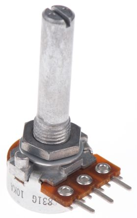 Alps Alpine Rotary Carbon Film Potentiometer with a 6 mm Dia. Shaft, 10kΩ, ±20%, 0.05W, Logarithmic RK1631110TV9