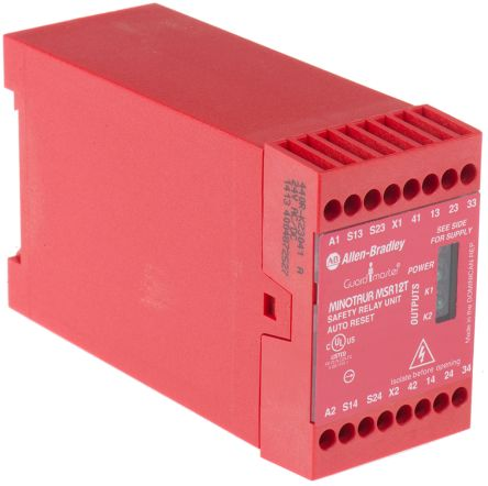 Allen Bradley Guardmaster MSR12T 24 V ac/dc Safety Relay Dual Channel With  3 Safety Contacts