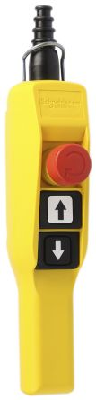 Schneider Electric Screw Clamp 2NO/3NC 3 Push Button Pendant Station 30mm 3 A ac, 270 mA dc Yellow PP, 600V, IP65 3