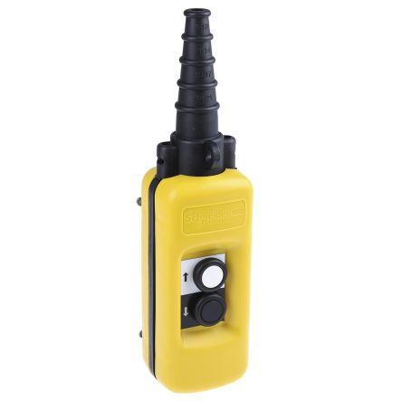 Schneider Electric 2NO 2 Push Button Pendant Station 3 A ac, 270 mA dc Yellow, 600V, IP65 2 Black, White Down Arrow, Up