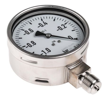 RS PRO Vacuum Gauge, Maximum Pressure Measurement 0bar, Gauge Outside Diameter 100mm, Connection Size BSP G 1/2