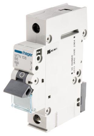 Hager 6A 1 Pole Type B Miniature Circuit Breaker on