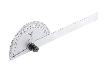 RS PRO Metric Protractor, 180° Range, 6in Steel Blade