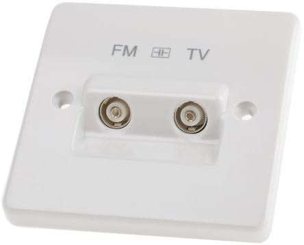 White isolated TV/FM diplexer outlet