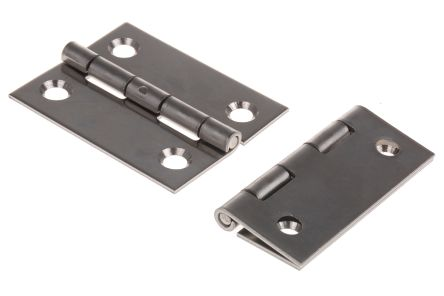 Raw Stainless Steel Hinge with a Fixed Pin Screw, 50mm x 40mm x 1.2mm product photo
