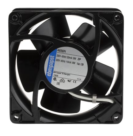 ebm-papst 4000N Series Axial Fan, 119 x 119 x 38mm, 160m³/h, 19W, 230 V ac