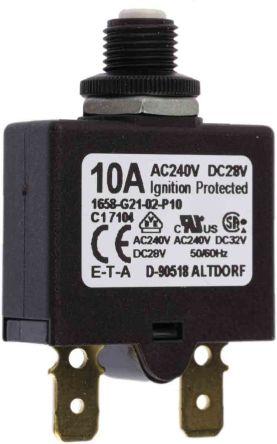 ETA Serie 1658 Thermischer magnetischer Geräteschutzschalter 1-polig 10A 28 V