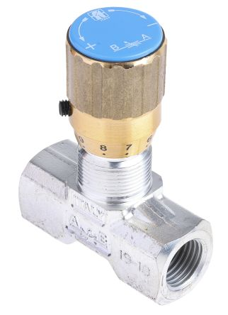 RS PRO Line Mounting Hydraulic Flow Control Valve, BSP 1/4, 210 bar