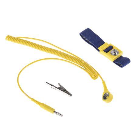Wriststrap,antistatic,adj,10mm-banana plug/croc clip