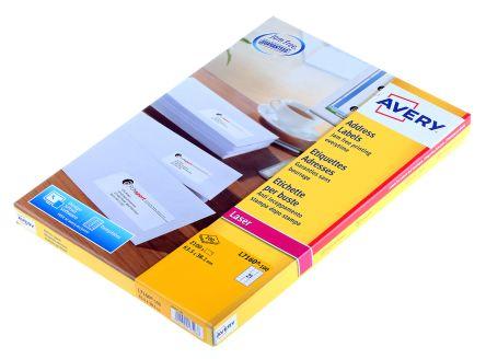 Avery Beyaz Boş Yapışkanlı Etiket, 63,5mm x 38,1mm, 100Levhalar Adet