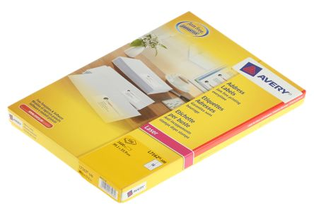 Avery White Blank Adhesive Label, 99.1 x 33.9mm, Pack of 100