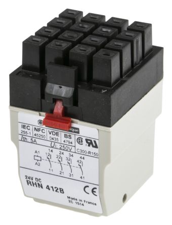 Rhn412b Schneider Electric 24v Dc Coil Non Latching Relay 4pdt 5a Switching Current Plug In Rs Components