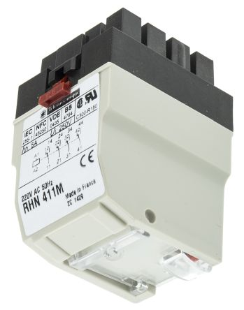 Schneider Electric 4PDT Non-Latching Relay, 220V ac Coil, 5 A