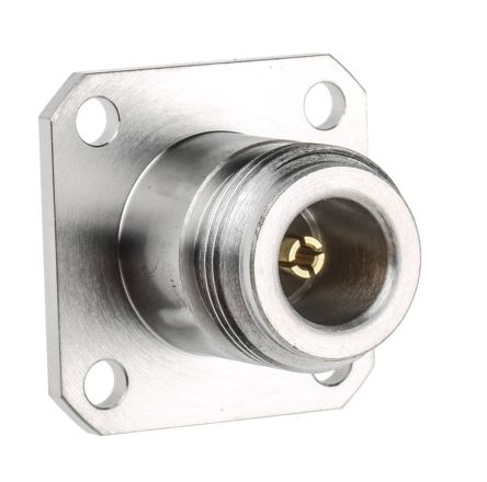 Radiall 50Ω Straight Panel Mount N Type Connector, jack, Solder  Termination, 0 → 11GHz