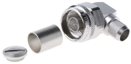 50O Right Angle Cable Mount N Type Connector, Plug, Solder Termination, 0 -> 11GHz, RG213/U product photo