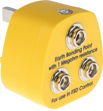 RS Pro ESD Earth Bonding Plug with 10 mm Stud x 3