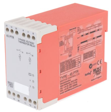 Broyce Control Phase, Temperature Monitoring Relay with DPST Contacts, 3 Phase, 230 V ac