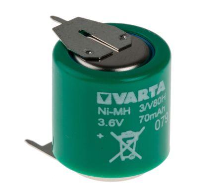 Varta V80H 3.6V NiMH Rechargeable Button Batteries, 80mAh