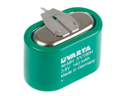 Varta V150H 3.6V NiMH Rechargeable Button Batteries, 150mAh