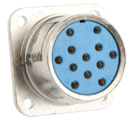 12 Way Panel Mount MIL Spec Circular Connector Receptacle, Socket Contacts, MIL-DTL-5015 product photo