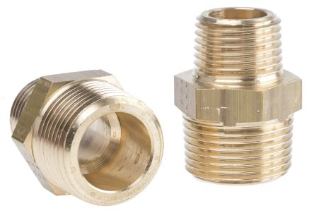 Brass 3/4 in BSPT Male x 1/2 in BSPT Male Straight Adapter Threaded Fitting product photo
