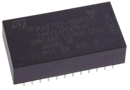 STMicroelectronics M48T02-150PC1 NVRAM, 16kbit, 150ns, 5V 24-Pin PCDIP