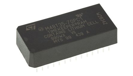 STMicroelectronics M48T35-70PC1 NVRAM, 32kbit, 70ns, 5V 28-Pin PCDIP