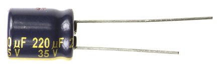 Panasonic 220μF 35V dc Aluminium Electrolytic Capacitor, Through Hole 10 (Dia.) x 12.5mm +105°C 10mm 5mm