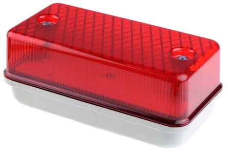 RS PRO, Rectangular Red LED Bulkhead Light LED Bulkhead, 230 V ac/dc,  Polycarbonate, IP64, with Red Diffuser, Lamp