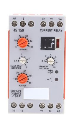 Broyce Control Current Monitoring Relay with SPDT Contacts, 1 Phase, 110 V ac