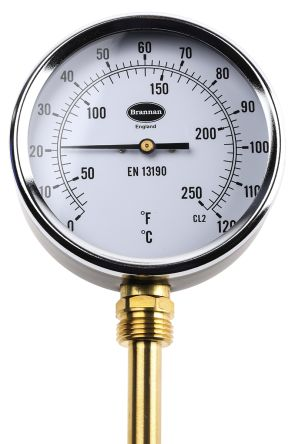 RS PRO Fahrenheit/Centigrade Dial Dry Temperature Gauge Suitable