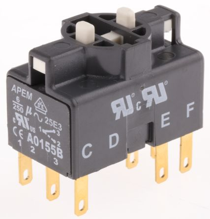 3NO/3NC, Maintained Action Switch Block for use with A01 Series