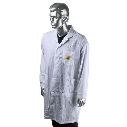 RS PRO White Men Reusable Lab Coat, XL