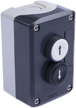 Schneider Electric XALD222 Enclosed Push Button Polycarbonate 1 Cutouts Down Arrow, Up Arrow