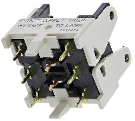 DPDT PCB contact block for pushbutton sw