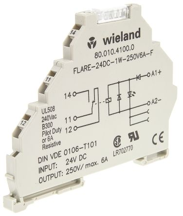 8001041000 Wieland Flare Series 24V dc DIN Rail Interface Relay