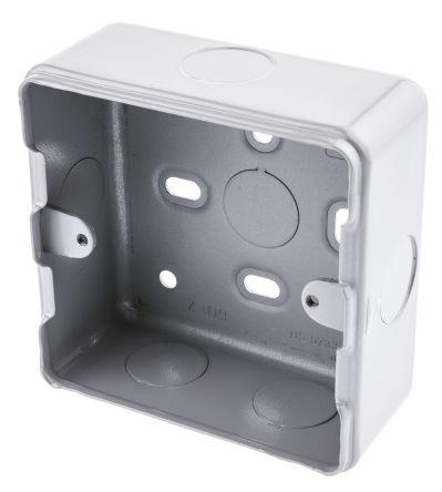 MK Electric Metalclad Silver Matt Aluminium Back Box, BS Standard, IP20, Surface Mount, 1 Gangs, 86 x 86 x 38mm
