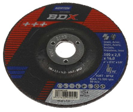 Norton Cutting Disc Aluminium Oxide Cutting Disc, 100mm x 2.5mm Thick, P80 Grit, 5 in pack