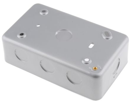 RS PRO Grey Matt Metal Clad Back Box, BS Standard, IP20, Surface Mount, 2 Gangs
