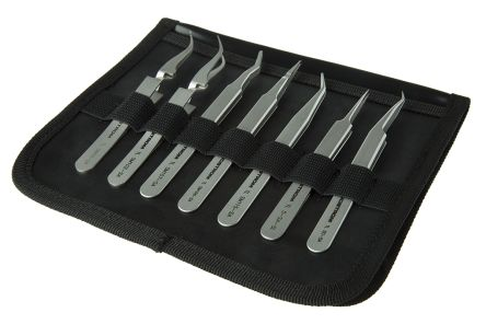 7 piece Stainless Steel Tweezer Set With Various Contents product photo