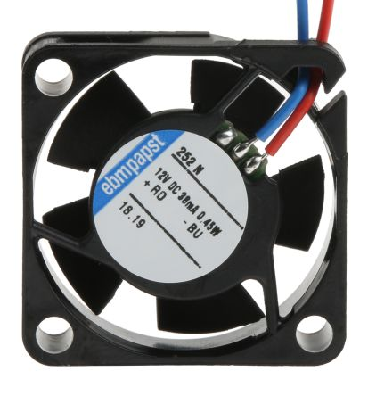 ebm-papst 250 Series Axial Fan, 25 x 25 x 8mm, 3.4m³/h, 500mW, 12 V dc