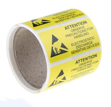 RS PRO Yellow Vinyl ESD Label, Attention-Text 50 mm x 25mm
