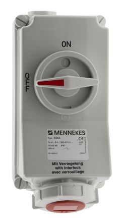 MENNEKES Switchable IP67 Industrial Interlock Socket 3P+E, Earthing Position 6h, 16A, 400 V