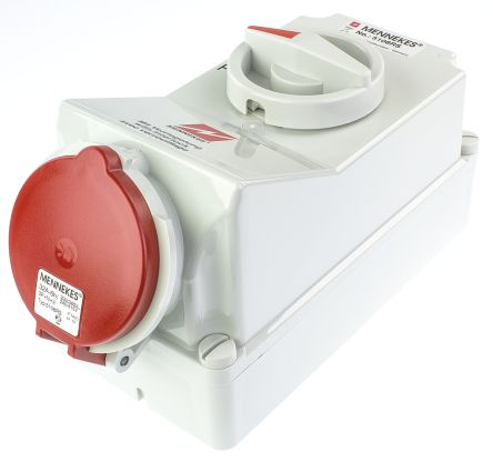 MENNEKES Switchable IP44 Industrial Interlock Socket 3PN+E, Earthing Position 6h, 32A, 400 V