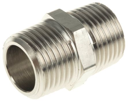Legris LF3000 20 bar Brass Pneumatic Straight Threaded Adapter, R 1/2 Male To R 1/2 Male