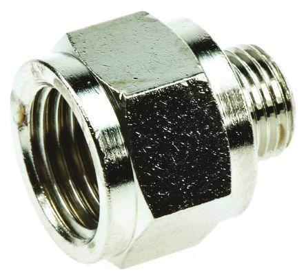 Legris LF3000 60 bar Brass Pneumatic Straight Threaded Adapter, G 1/8 Male To G 1/4 Female