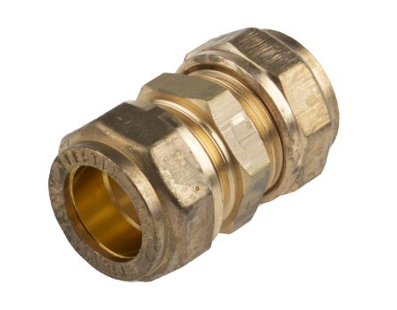 RS PRO 15mm Straight Coupler Brass Compression Fitting