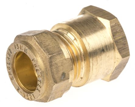 15mm x 1/2 in BSPP Female Straight Coupler Brass Compression Fitting product photo