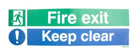 RS PRO Vinyl Fire Safety Label, FIRE EXIT Sign With English Text Self-Adhesive, 450 x 150mm